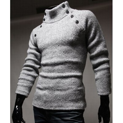 Гаджет   Double-Breasted Solid Color Slimming Half-Collar Long Sleeves Men