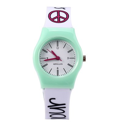 Willis Heart-shaped Pattern Women Quartz WatchWomens Watches<br>Willis Heart-shaped Pattern Women Quartz Watch<br><br>Brand: WILLIS<br>Watches categories: Female table<br>Available color: Green, Plum, Black<br>Style: Fashion&amp;Casual<br>Movement type: Quartz watch<br>Shape of the dial: Round<br>Display type: Analog<br>Case material: Plastic<br>Band material: Plastic<br>Clasp type: Pin buckle<br>The dial thickness: 0.6 cm / 0.24 inches<br>The dial diameter: 2.6 cm / 1.02 inches<br>The band width: 1.4 cm / 0.55 inches<br>Wearable length: 14 - 19 cm / 5.51 - 7.48 inches<br>Product weight: 0.017 kg<br>Package weight: 0.067 kg<br>Product size (L x W x H) : 21 x 2.6 x 0.6 cm / 8.25 x 1.02 x 0.24 inches<br>Package size (L x W x H): 22 x 3.6 x 1.6 cm / 8.65 x 1.41 x 0.63 inches<br>Package contents: 1 x Willis Watch