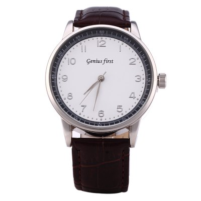 Genius first ZH1120G Leather Band Male Quartz Watch