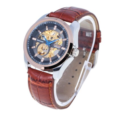 CJIABA Genuine Leather Band Male Hollow-out Automatic Mechanical WatchMens Watches<br>CJIABA Genuine Leather Band Male Hollow-out Automatic Mechanical Watch<br><br>Brand: Cjiaba<br>Watches categories: Male table<br>Watch style: Hollow-out<br>Available color: Black, White, Brown<br>Movement type: Automatic mechanical watch<br>Shape of the dial: Round<br>Display type: Analog<br>Case material: Alloy<br>Band material: Genuine leather<br>Clasp type: Pin buckle<br>The dial thickness: 1.3 cm / 0.51 inches<br>The dial diameter: 4.5 cm / 1.77 inches<br>The band width: 2.0 cm / 0.79 inches<br>Product weight: 0.067 kg<br>Package weight: 0.151 kg<br>Product size (L x W x H): 26 x 4.5 x 1.3 cm / 10.22 x 1.77 x 0.51 inches<br>Package size (L x W x H): 8.7 x 8 x 5.2 cm / 3.42 x 3.14 x 2.04 inches<br>Package contents: 1 x Automatic Mechanical Watch