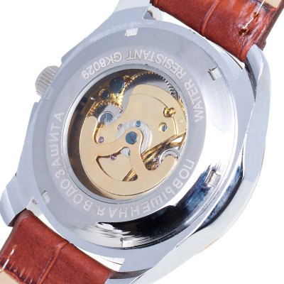 Фотография CJIABA Genuine Leather Band Male Hollow-out Automatic Mechanical Watch