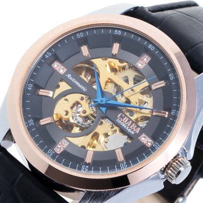CJIABA Genuine Leather Band Male Hollow-out Automatic Mechanical Watch