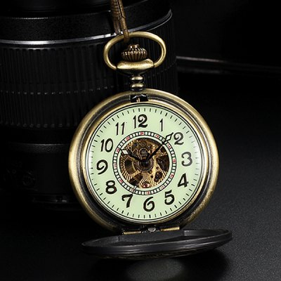 ФОТО Luminous Dial Hollow Out Automatic Mechanical Pocket Watch