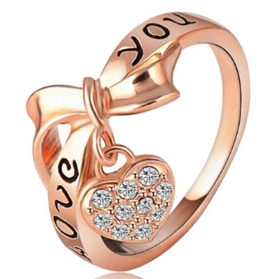 Chic Rhinestone Bow Heart Shape Ring For Women