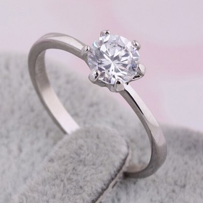 Simple Style Rhinestone Solid Color Round Ring For Women