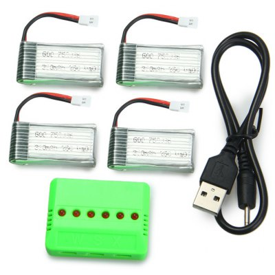 Spare Upgraded Battery Set 4Pcs 3.7V 380mAh 25C Battery + X6 Charger for Mould King 33041 33041A Quadcopter