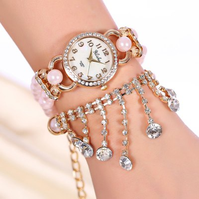 yilisha 2552 Rhinestone Tassel Pendant Ladies Bead Chain Quartz Watch