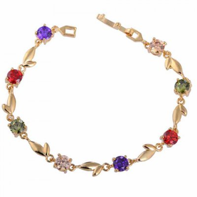 Sweet Faux Crystal Leaf Link Chain Bracelet For Women