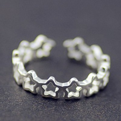 Cute Solid Color Hollow Out Star Cuff Ring For WomenRings<br>Cute Solid Color Hollow Out Star Cuff Ring For Women<br><br>Gender: For Women<br>Metal Type: Silver<br>Style: Trendy<br>Shape/Pattern: Star<br>Diameter: 1.7CM<br>Weight: 0.03KG<br>Package Contents: 1 x Ring