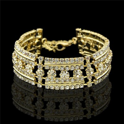 Graceful Solid Color Rhinestoned Hollow Out Bracelet For Women