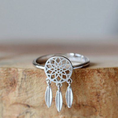 Trendy Solid Color Dream Catcher Cuff Ring For Women