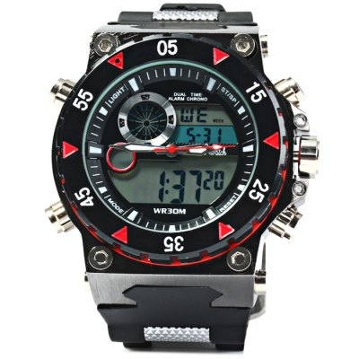 ФОТО D2watch 627 Men LED Sports Japan Quartz Watch 30M Water Resistance