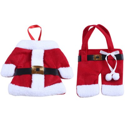 Christmas Santa Claus Jacket and Pant Style BagChristmas Supplies<br>Christmas Santa Claus Jacket and Pant Style Bag<br><br>Type: Knife and Fork Storage Bag<br>Material: Plush<br>For: All<br>Usage: Christmas, New Year, Others, Wedding, Party, Birthday<br>Color: Red<br>Product weight: 0.043 kg<br>Package weight : 0.080 kg<br>Product size (L x W x H) : 12 x 12 x 12 cm / 4.72 x 4.72 x 4.72 inches<br>Package size (L x W x H): 22 x 14 x 5 cm / 8.65 x 5.50 x 1.97 inches<br>Package Contents: 1 x Pair of Knife and Fork Storage Bag