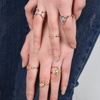 A Suit of Ehthic Style Geometric Rings For Women