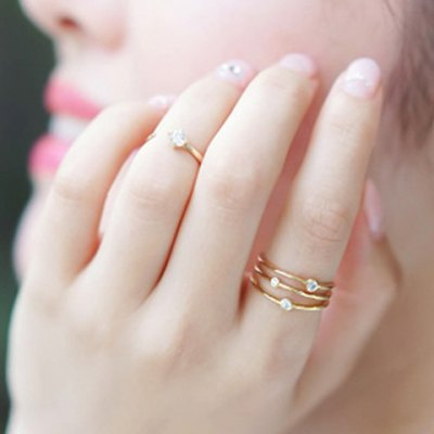 Delicate Pure Color Rhinestone Hollow Out Ring For Women