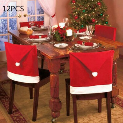 12PCS Santa Claus Hat Chair Back Cover for Christmas