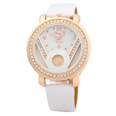 Hong Li A816 Rolling Rhinestone Women Quartz WatchWomens Watches<br>Hong Li A816 Rolling Rhinestone Women Quartz Watch<br><br>Brand: Hong Li<br>Watches categories: Female table<br>Available color: White, Pink, Red, Black<br>Style: Fashion&amp;Casual<br>Movement type: Quartz watch<br>Shape of the dial: Round<br>Display type: Analog<br>Case material: Stainless steel<br>Band material: Leather<br>Clasp type: Pin buckle<br>The dial thickness: 0.8 cm / 0.31 inches<br>The dial diameter: 4.0 cm / 1.57 inches<br>The band width: 1.6 cm / 0.63 inches<br>Wearable length: 17 - 21 cm / 6.69 - 8.27 inches<br>Product weight: 0.045 kg<br>Package weight: 0.095 kg<br>Product size (L x W x H) : 24 x 4 x 0.8 cm / 9.43 x 1.57 x 0.31 inches<br>Package size (L x W x H): 25 x 5 x 1.8 cm / 9.83 x 1.97 x 0.71 inches<br>Package contents: 1 x Hong Li A816 Watch