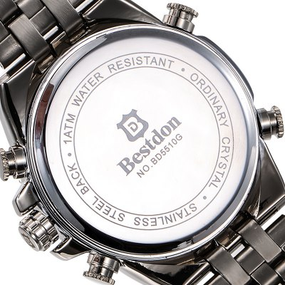 Bestdon BD5510G Digital Analog WatchMens Watches<br>Bestdon BD5510G Digital Analog Watch<br><br>Brand: Bestdon<br>Watches categories: Male table<br>Watch style: Casual<br>Style elements: Stainless steel<br>Available color: Black, White<br>Movement type: Quartz + digital watch<br>Shape of the dial: Round<br>Display type: Analog-Digital<br>Case material: Stainless steel<br>Band material: Stainless steel<br>Clasp type: Folding clasp with safety<br>Special features: Alarm clock, Day, Stopwatch<br>Water resistance: 50 meters<br>The dial thickness: 1.5 cm / 0.59 inches<br>The dial diameter: 4.0 cm / 1.57 inches<br>The band width: 2.0 cm / 0.79 inches<br>Product weight: 0.154 kg<br>Package weight: 0.22 kg<br>Product size (L x W x H): 25 x 4 x 1.5 cm / 9.83 x 1.57 x 0.59 inches<br>Package size (L x W x H): 8.5 x 8 x 5 cm / 3.34 x 3.14 x 1.97 inches<br>Package contents: 1 x Bestdon BD5510G Watch