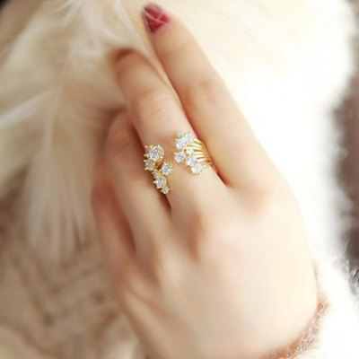 Vintage Solid Color Layered Rhinestone Cuff Ring For Women