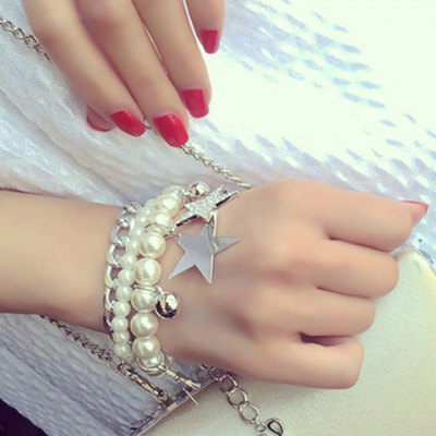 Chic Faux Pearl Rhinestone Hollow Out Bracelet For Women