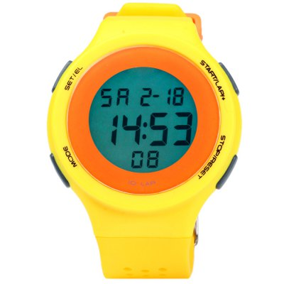 Male LED Sports WatchLED Watches<br>Male LED Sports Watch<br><br>People: Male table<br>Watch style: Outdoor Sports, LED<br>Available color: Gray, Black, Plum, White, Blue, Green, Yellow<br>Shape of the dial: Round<br>Movement type: Digital watch<br>Display type: Digital<br>Hour formats: 24 Hour<br>Case material: PC<br>Band material: Rubber<br>Clasp type: Pin buckle<br>Special features: Alarm clock, Stopwatch, EL Back-light, Day, Date<br>Water resistance: 30 meters<br>The dial thickness: 0.8 cm / 0.31 inches<br>The dial diameter: 4.2 cm / 1.65 inches<br>The band width: 2.2 cm / 0.86 inches<br>Wearable length: 15.5 - 22 cm / 6.1 - 8.66 inches<br>Product weight: 0.037 kg<br>Package weight: 0.087 kg<br>Product size (L x W x H) : 24 x 4.2 x 0.8 cm / 9.43 x 1.65 x 0.31 inches<br>Package size (L x W x H): 25 x 5.2 x 1.8 cm / 9.83 x 2.04 x 0.71 inches<br>Package contents: 1 x LED Sports Watch