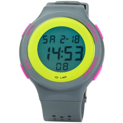 Male LED Sports WatchLED Watches<br>Male LED Sports Watch<br><br>People: Male table<br>Watch style: Outdoor Sports, LED<br>Available color: Plum, White, Blue, Green, Yellow, Gray, Black<br>Shape of the dial: Round<br>Movement type: Digital watch<br>Display type: Digital<br>Hour formats: 24 Hour<br>Case material: PC<br>Band material: Rubber<br>Clasp type: Pin buckle<br>Special features: Stopwatch, EL Back-light, Day, Date, Alarm clock<br>Water resistance: 30 meters<br>The dial thickness: 0.8 cm / 0.31 inches<br>The dial diameter: 4.2 cm / 1.65 inches<br>The band width: 2.2 cm / 0.86 inches<br>Wearable length: 15.5 - 22 cm / 6.1 - 8.66 inches<br>Product weight: 0.037 kg<br>Package weight: 0.087 kg<br>Product size (L x W x H) : 24 x 4.2 x 0.8 cm / 9.43 x 1.65 x 0.31 inches<br>Package size (L x W x H): 25 x 5.2 x 1.8 cm / 9.83 x 2.04 x 0.71 inches<br>Package contents: 1 x LED Sports Watch