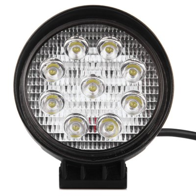 DY6027 27W Round Work Light FloodlightCar Headlights<br>DY6027 27W Round Work Light Floodlight<br><br>Model  : DY6027<br>Type   : Work Light<br>Connector: Cable Connector<br>LED/Bulb quantity: 9pcs<br>Feature: Easy to use, Low Power Consumption<br>Emitting color : White<br>Color temperature: 6000K<br>Voltage : 10V-30V<br>Power : 27W<br>Lumens: 2160LM<br>Material  : Plastic, Metal, Glass<br>Adaptable automobile mode : Universal cars<br>Type of lamp-house : LED<br>Apply lamp position: External Lights<br>Product weight   : 0.432 kg<br>Package weight   : 0.6 kg<br>Product size (L x W x H)  : 13 x 12 x 6 cm / 5.11 x 4.72 x 2.36 inches<br>Package size (L x W x H)  : 16 x 14 x 8 cm / 6.29 x 5.50 x 3.14 inches<br>Package Contents: 1 x DY6027 27W Round Floodlight, 1 x Bracket, 1 x Long Screw, 1 x Short Screw, 2 x Nut, 2 x O-Ring
