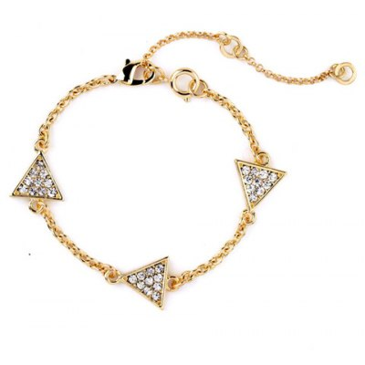 Stunning Rhinestoned Triangle Link-Chain Bracelet For Women