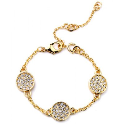 Graceful Rhinestoned Round Link-Chain Bracelet For Women