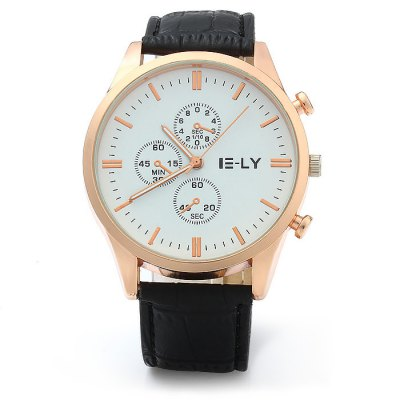 IE-LY Leather Strap Men Quartz WatchMens Watches<br>IE-LY Leather Strap Men Quartz Watch<br><br>Brand: IE-LY<br>Watches categories: Male table<br>Watch style: Fashion<br>Available color: White, Red, Brown, Deep Brown, Black<br>Movement type: Quartz watch<br>Shape of the dial: Round<br>Display type: Analog<br>Case material: Stainless steel<br>Band material: Leather<br>Clasp type: Pin buckle<br>Special features: Decorating small sub-dials<br>The dial thickness: 0.8 cm / 0.31 inches<br>The dial diameter: 4.0 cm / 1.57 inches<br>The band width: 2.0 cm / 0.79 inches<br>Wearable length: 17 - 21 cm / 6.69 - 8.27 inches<br>Product weight: 0.042 kg<br>Package weight: 0.092 kg<br>Product size (L x W x H): 24 x 4 x 0.8 cm / 9.43 x 1.57 x 0.31 inches<br>Package size (L x W x H): 25 x 5 x 1.8 cm / 9.83 x 1.97 x 0.71 inches<br>Package contents: 1 x IE-LY Watch