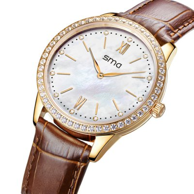 SMA Star Sign 64 Crystal Diamonds Lady Smart WatchSmart Watches<br>SMA Star Sign 64 Crystal Diamonds Lady Smart Watch<br><br>Brand: SMA<br>Bluetooth version: Bluetooth 4.0<br>Waterproof: YES<br>Waterproof rating: 50M water resistance<br>Bluetooth calling: Phone call reminder<br>Messaging: Message reminder<br>Health tracker: Sedentary reminder, Sleep monitor, Pedometer<br>Remote control: Camera remote<br>Anti-lost: Yes<br>Other functions: Alarm<br>Alert type: Vibration<br>Screen: Sapphire Crystal<br>Screen size: 1.54 inch<br>Battery type: CR2032 lithium battery<br>Standby time: About 6 months<br>People: Female watch<br>Bluetooth working range: 10 meters<br>Shape of the dial: Round<br>Case material: Stainless Steel<br>Band material: Leather<br>Compatible OS: iOS, Android<br>Compatability: Android 4.3 / iOS 7.0 or above system<br>Language: English<br>Dial size: 3.7 x 3.7 x 1.0 cm / 1.46 x 1.46 x 0.39 inches<br>Wearing diameter: 18 -22 cm / 7.09 - 8.66 inches<br>The band width: 1.5 cm / 0.59 inches<br>Product size (L x W x H) : 24.5 x 3.7 x 1.0 cm / 9.63 x 1.45 x 0.39 inches<br>Package size (L x W x H): 11 x 11 x 11 cm / 4.32 x 4.32 x 4.32 inches<br>Product weight: 0.044 kg<br>Package weight: 0.290 kg<br>Package contents: 1 x SMA Star Sign Smart Watch, 2 x CR2032 Battery, 1 x Chinese and English Manual