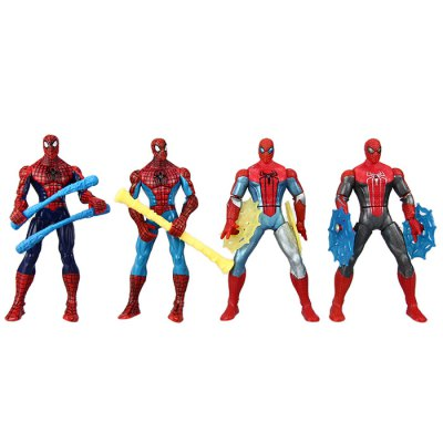 7Pcs Spiderman Series Anime Figure with Rotatable Joint Assembly Christmas Gift