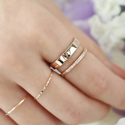 Chic Rhinestone Hollow Out Two-Layered Cuff Ring For Women