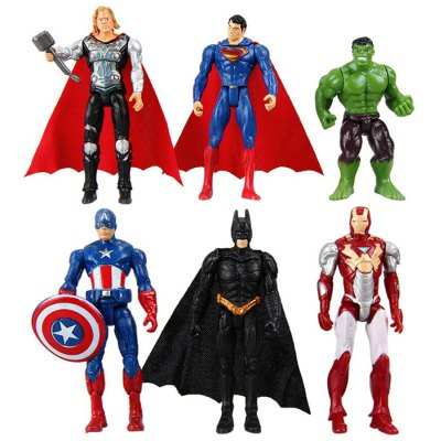 6Pcs The Avengers Anime Character Model PVC Toy Christmas Present