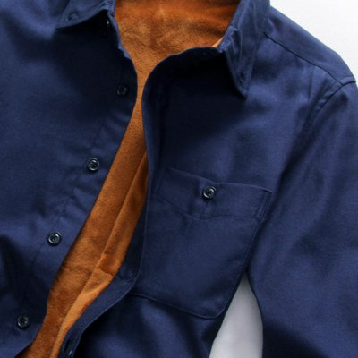 Simple Shirt Collar One Patch Pocket Solid Color Long Sleeves Men