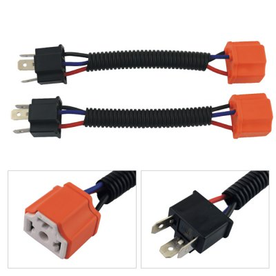 2 Pcs H4 Male to Female Wire Harness Sockets Extension Cable