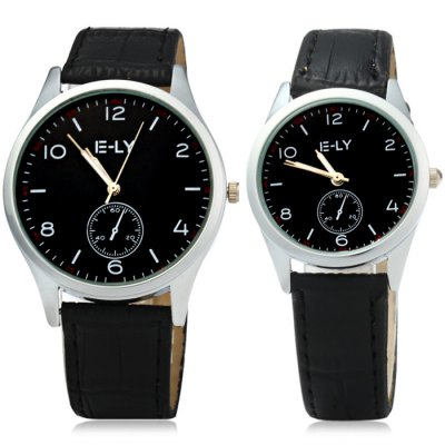 IE-LY Leather Band Quartz Watch Lover Wristwatch