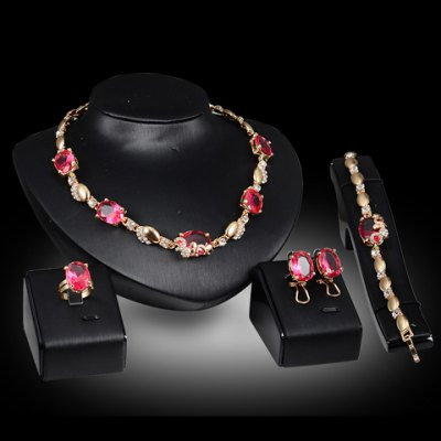 A Suit of Charming Faux Crystal Oval Necklace Bracelet Ring and Earrings For Women