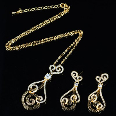 A Suit of Graceful Rhinestoned Heart Hollow Out Necklace and Earrings For WomenNecklaces &amp; Pendants<br>A Suit of Graceful Rhinestoned Heart Hollow Out Necklace and Earrings For Women<br><br>Item Type: Pendant Necklace<br>Gender: For Women<br>Style: Trendy<br>Shape/Pattern: Heart<br>Length: 45CM-50CM (Necklace)/4CM (Earring)<br>Weight: 0.11KG<br>Package Contents: 1 x Necklace 1 x Earring (Pair)