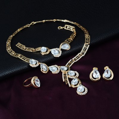 A Suit of Trendy Faux Crystal Water Drop Necklace Ring Bracelet and Earrings For Women