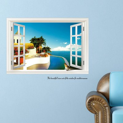 3D Seascape Style Removable PVC Wall Stickers