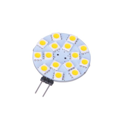 6pcs G4 SMD 5050 2.5W 170Lm Flat LED Corn LightLED Light Bulbs<br>6pcs G4 SMD 5050 2.5W 170Lm Flat LED Corn Light<br><br>Holder: G4<br>Type: Corn Bulbs<br>Output Power: 2.5W<br>Emitter Types: SMD 5050<br>Total Emitters: 15<br>Luminous Flux: 170Lm<br>CCT/Wavelength: 3000K, 6000K<br>Voltage (V): DC 12<br>Angle: 120 degree<br>Features: Energy Saving, Long Life Expectancy<br>Function: Commercial Lighting, Studio and Exhibition Lighting, Home Lighting<br>Available Light Color: White, Warm White<br>Product Weight: 0.006 kg<br>Package Weight: 0.055 kg<br>Product Size (L x W x H): 4.8 x 3.6 x 0.6 cm / 1.89 x 1.41 x 0.24 inches<br>Package Size (L x W x H): 8 x 6 x 2 cm / 3.14 x 2.36 x 0.79 inches<br>Package Contents: 6 x G4 LED Corn Light