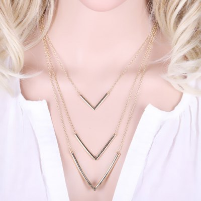 Vintage Solid Color Layered V-Shaped Necklace For Women