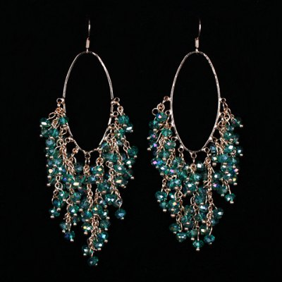 Pair of Vintage Faux Crystal Oval Drop Earrings For Women