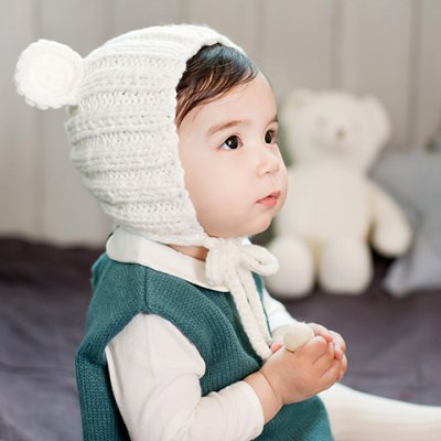 Chic Bear Ear Shape and Lace-Up Embellished Knitted Beanie For Kids