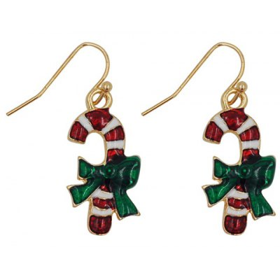 Pair of Graceful Candy Cane Shape Christmas Earrings Jewelry For Women