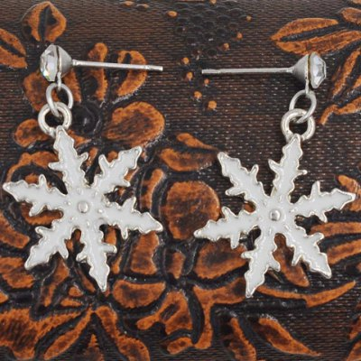 Pair of Cute Snowflake Christmas Earrings Jewelry For Women