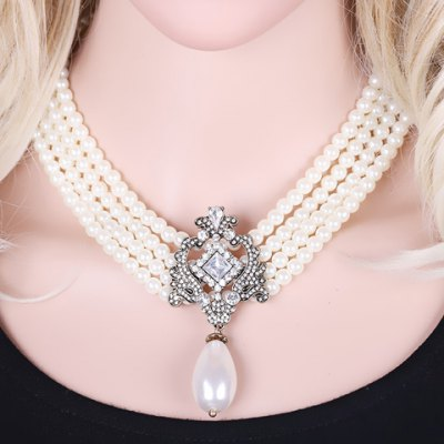 Elegant Faux Pearl Rhinestone Hollow Out Necklace For Women