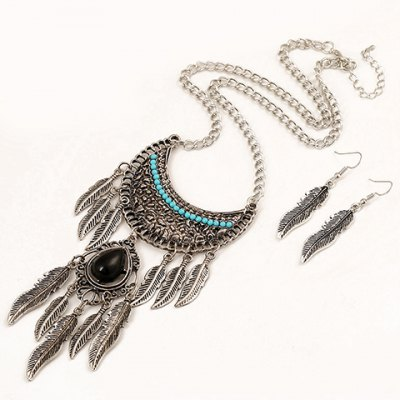 A Suit of Retro Faux Gem Metal Leaf Tassel Necklace and Earrings For Women