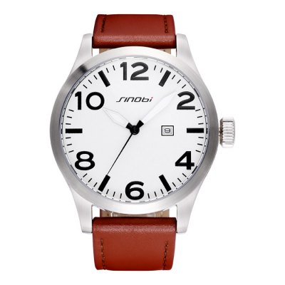 SINOBI 2674 Men Quartz WatchMens Watches<br>SINOBI 2674 Men Quartz Watch<br><br>Brand: Sinobi<br>Watches categories: Male table<br>Watch style: Business<br>Available color: Brown<br>Movement type: Quartz watch<br>Shape of the dial: Round<br>Display type: Analog<br>Case material: Stainless steel<br>Band material: PU leather<br>Clasp type: Pin buckle<br>Special features: Luminous, Date<br>Water resistance: 50 meters<br>The dial thickness: 1.3 cm / 0.51 inches<br>The dial diameter: 4.8 cm / 1.89 inches<br>The band width: 2.3 cm / 0.91 inches<br>Product weight: 0.117 kg<br>Package weight: 0.167 kg<br>Product size (L x W x H): 25.8 x 4.8 x 1.3 cm / 10.14 x 1.89 x 0.51 inches<br>Package size (L x W x H): 26.8 x 5.8 x 2.3 cm / 10.53 x 2.28 x 0.90 inches<br>Package contents: 1 x SINOBI 2674 Watch